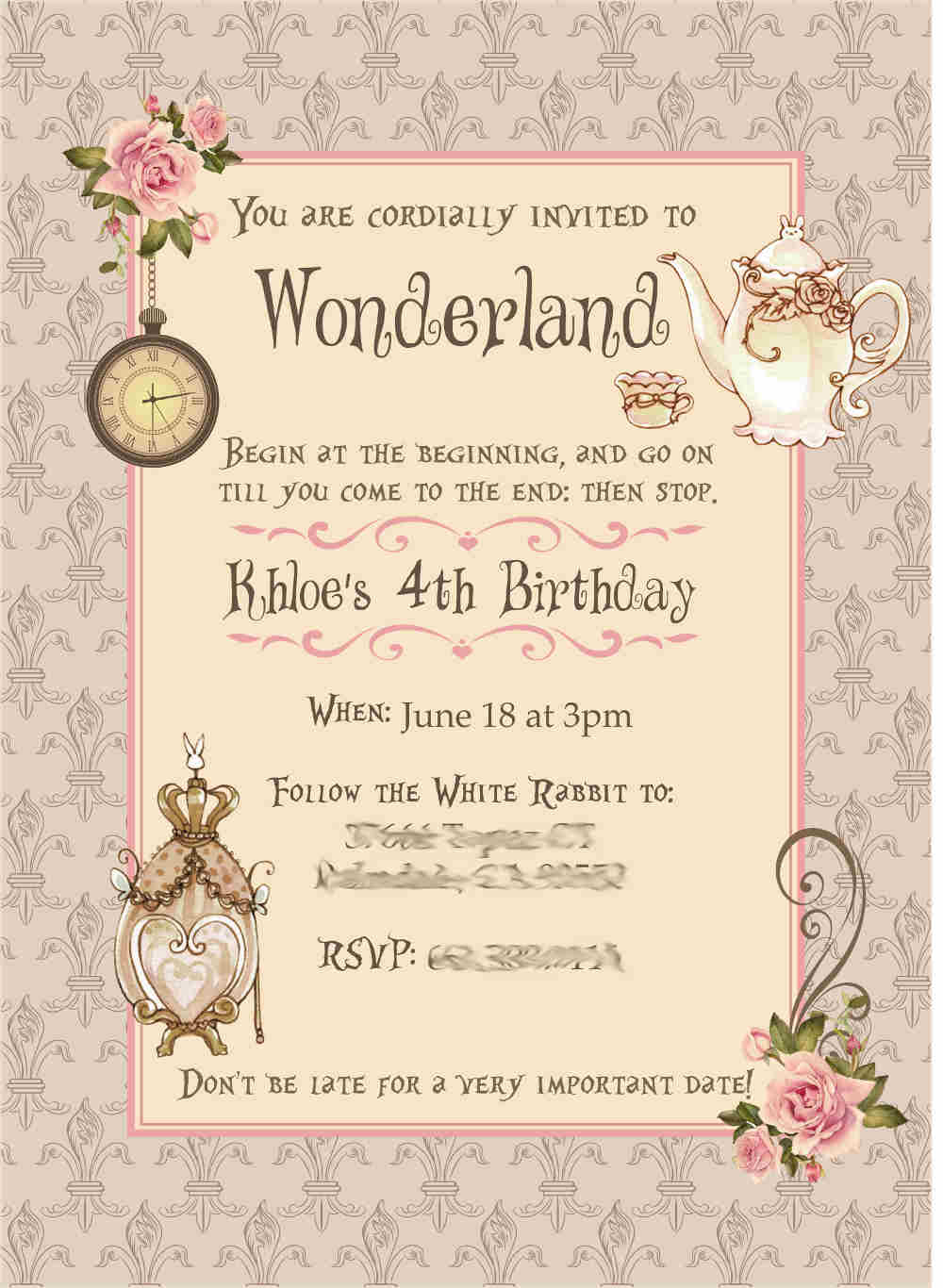 wonderland theme invitation card for birthday party in Delhi, Gurgaon, Faridabad