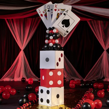 Dice Balloon Piller stand with cards - casino theme