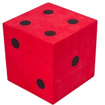 Giant Dice of foam with read colour