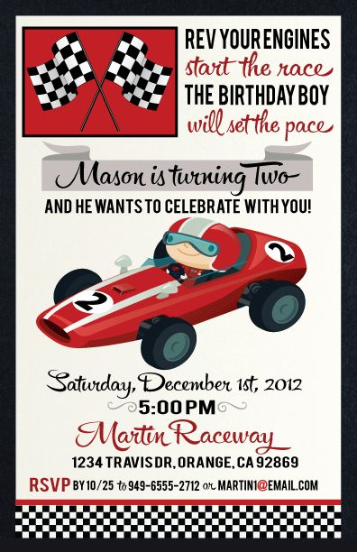Cars Theme Invitation Card